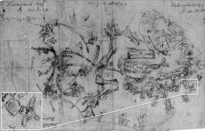 Halberstadt field map showing the original excavation sites