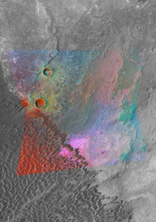 MRO image showing bright magenta outcrops indicative of feldspar