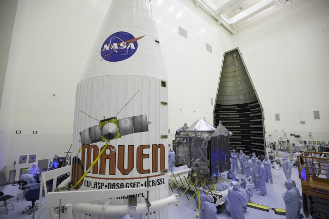 Inside the Payload Hazardous Servicing Facility at the Kennedy Space Center in Florida.