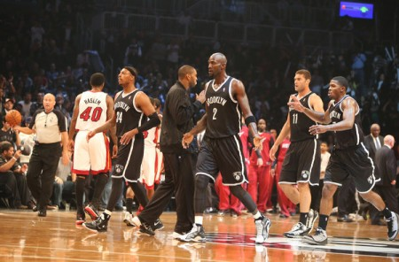 The Brooklyn Nets won their home opener on Friday night over the Miami Heat, giving the defending champions a losing record.