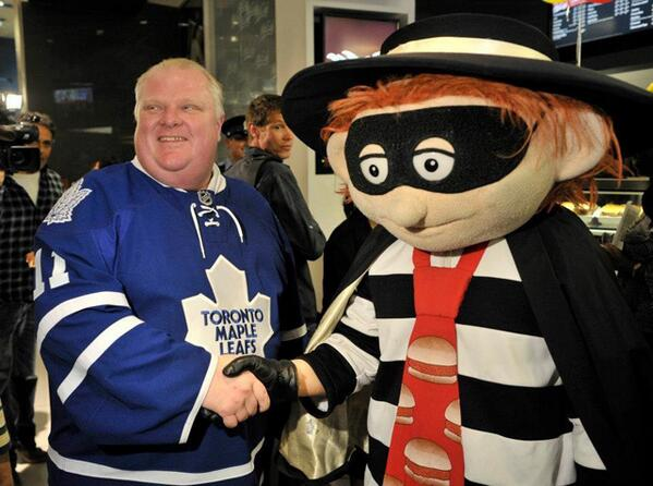 Rob Ford shakes hands with the Hamburgler