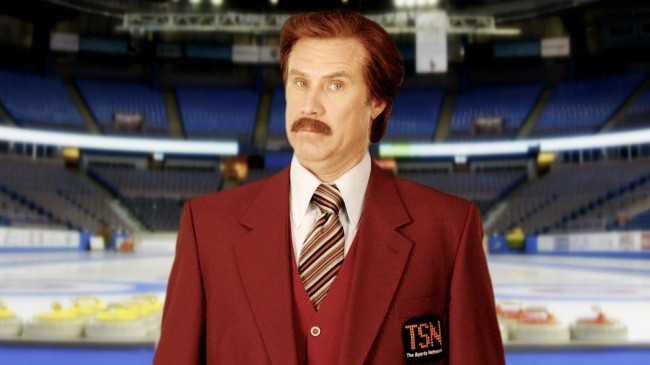ferrell, will ferrell, ron burgundy, curling