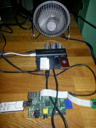 A homemade Bitcoin rig.