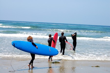 Surf lessons for the Boyinks in SoCal