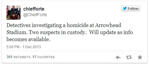 Chief Darryl Forte tweets homicide