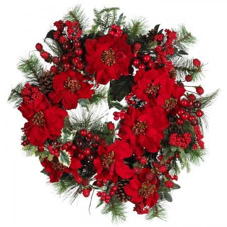Christmas poinsettia holly wreath