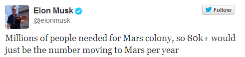 Elon Musk wants to transport 80 thousand people per year to Mars