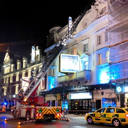 Fire brigade are now inspecting the Apollo Theatre's roof