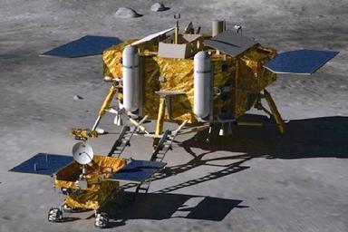 Jade Rabbit descending from its lander