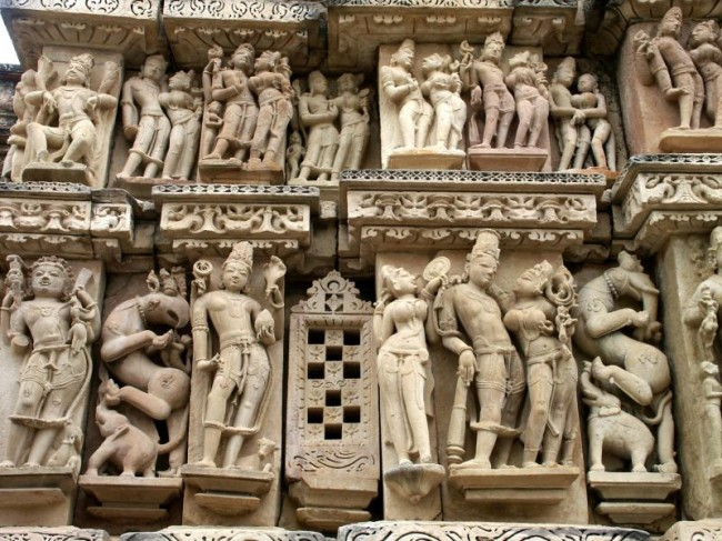 Khajuraho monuments of India are known for their erotic sculptures.