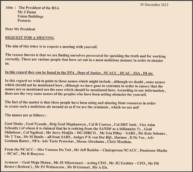 Letter to President Zuma December 30, 2013