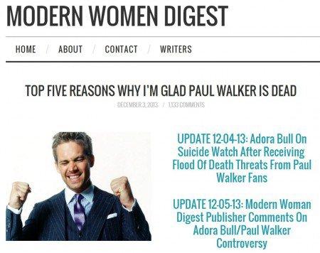 Modern Women Digest publishes article on Paul Walker
