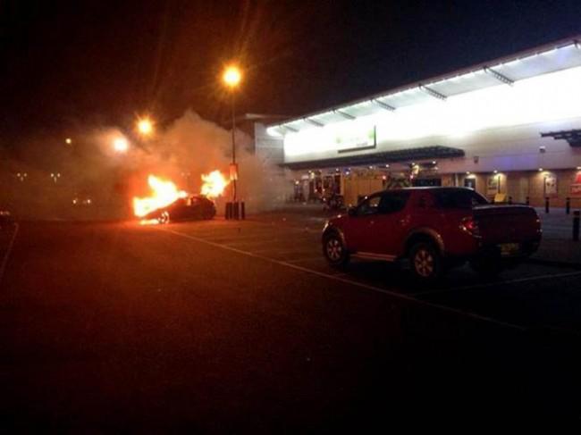 Paul walker fan's car on fire