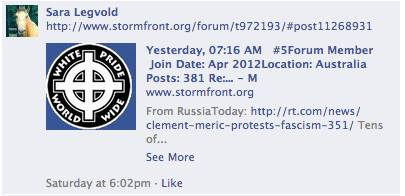 Republican Party Sara Legvold endorses StormFront