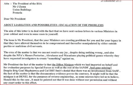 Snapshot of letter to President December 20 2013