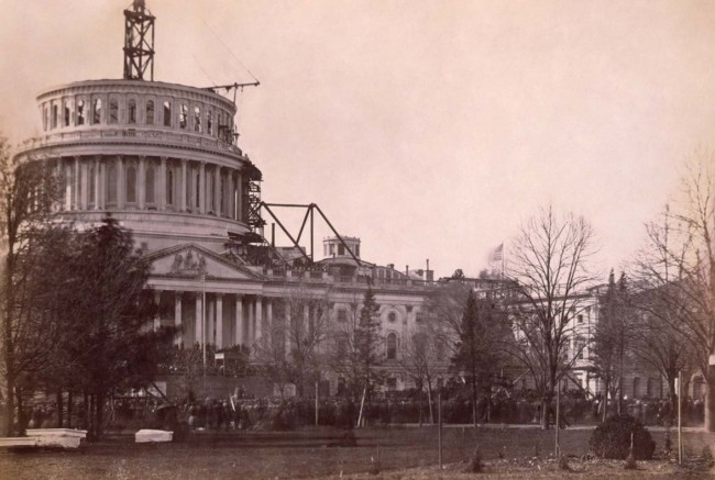 U.S. Capitol dome under construction
