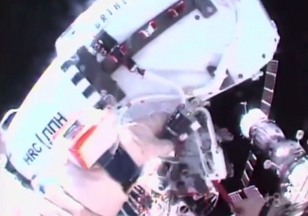View of high resolution camera temporarily affixed to the ISS