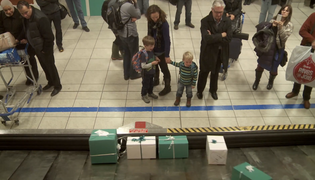 WestJet Baggage Carousels Christmas Miracle Boxes