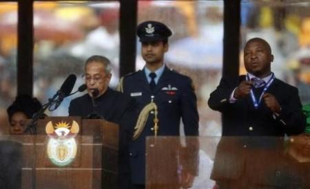 Deaf Interpreter at Mandela Memorial