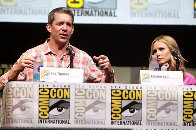 Screenwriter Rob Thomas and actress Kristen Bell at the 2013 San Diego Comic Con International.