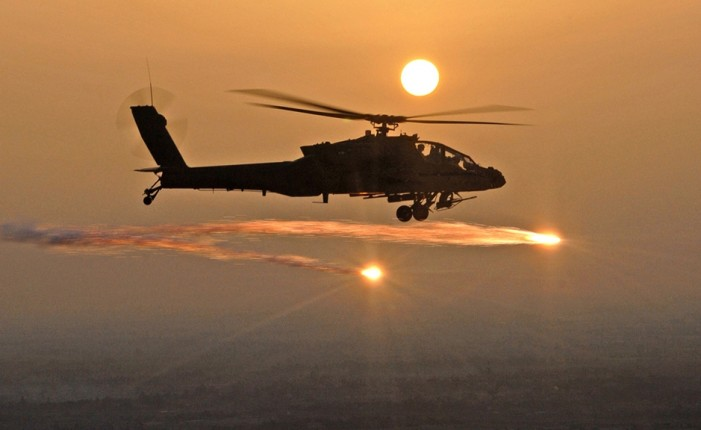 Apache Helicopters from America Back Over Iraq