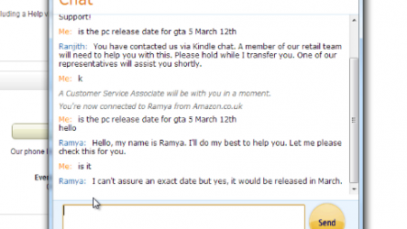 Chat between an Amazon representative and a customer
