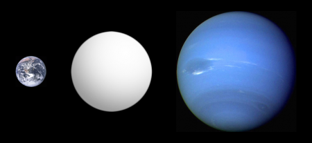 Comparison of GJ1214b relative to Earth left and Neptune right