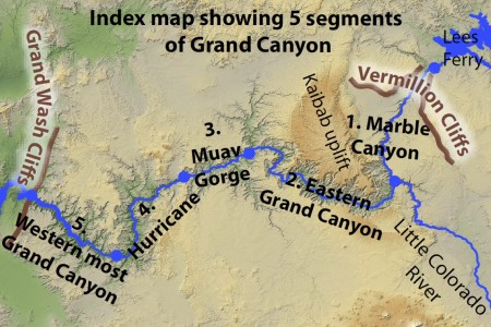 Index map showing five segments carved out at different times