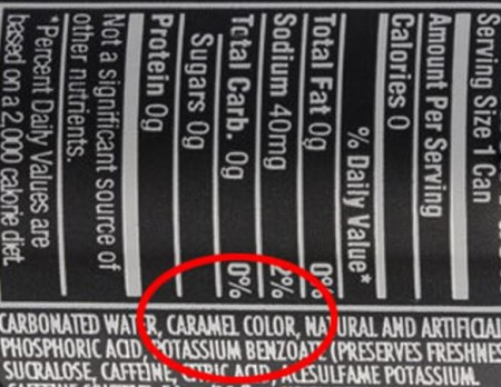Nutrition facts label found on a can of Pepsi One
