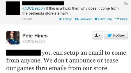 Pete Hines explaining fake email that appeared on reddit