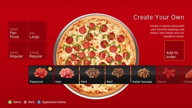 Xbox 360 Pizza Hut app