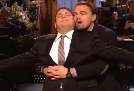 Jonah Hill Leonardo DiCaprio Bromance Moment