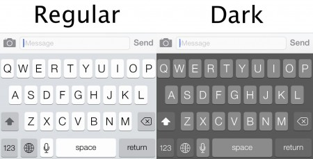 Apple iOS 7.1 keyboard contrast