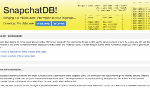 SnapchatDB exposed 4.6 million users