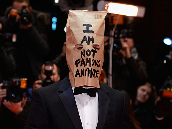 Shia LaBeouf Purple Socks Brown Paper Bag Attention Seeker or Point?