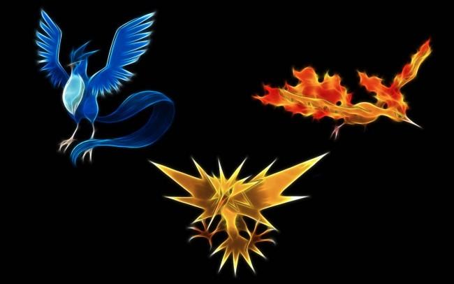 Pokémon trio of legendary birds Zapdos Moltres Articuno