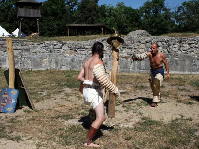 Archaeologists discover a Roman gladiator school. The ancient training school was part of the Roman garrison town of Carnumtum, a Roman outpost 100 miles south of the Danube River. Carnumtum has been studied by archaeologists for over 100 years.