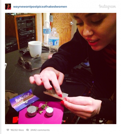 Miley Cyrus Instagram Snap Rolling Weed and High as F***