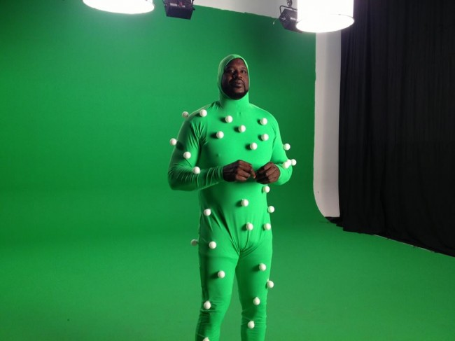 Shaquille O'Neal in motion capture suit for Shaq Fu A Legend Reborn