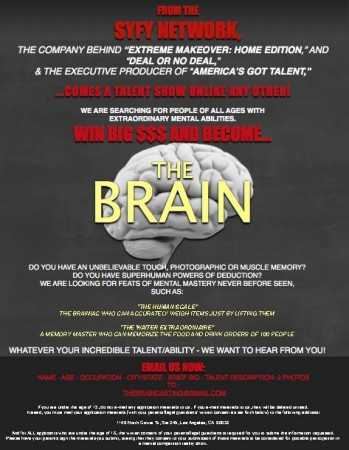 SyFy Channel Show The Brain is Currently Casting