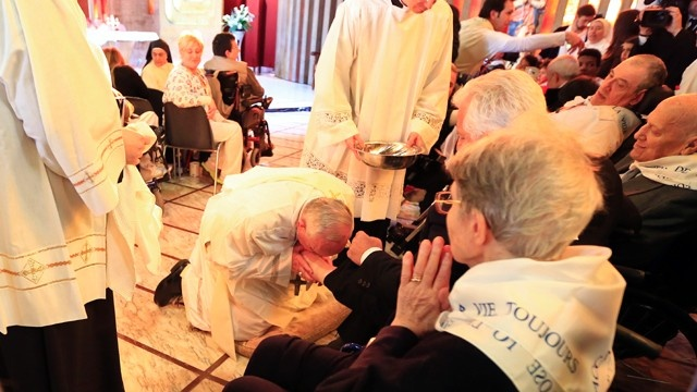 The Pope commemorated Jesus' example