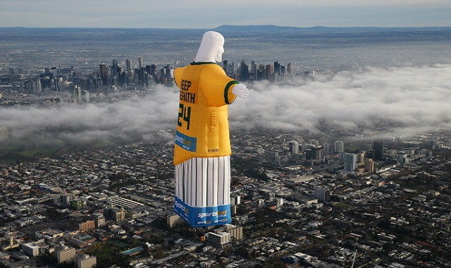 Giant Floating Jesus in Preparation of FIFA World Cup Angers Religious Community