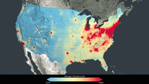 NASA Satellite Provides Set of Images Which Show Reduction of Pollution Over U.S.