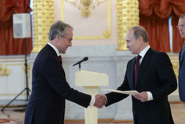 German Ambassador Rudiger von Fritsch presented credentials to President Putin in June 2014.