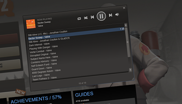 Steam Adds Ingame Music Player and Free Albums