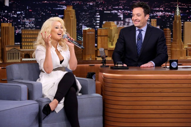 Jimmy Fallon Plays 'Wheel of Musical Impressions'  With Christina Aguilera