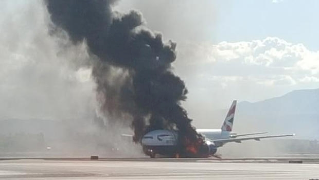 Plane on Fire at Las Vegas Airport