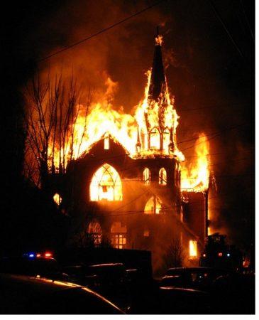 Burning church